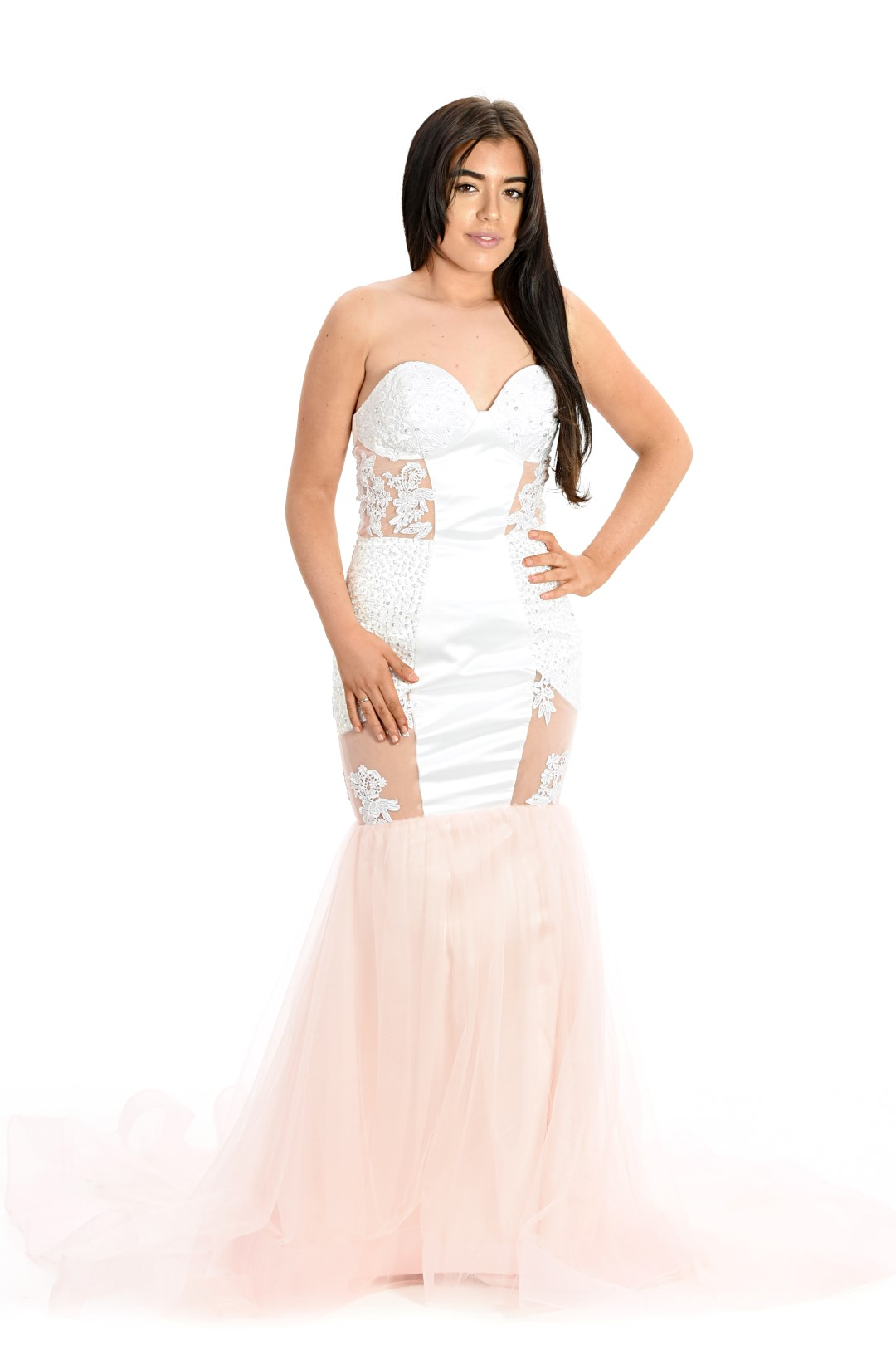 Duende Moda 1010 Pink Evening Gown Mermaid Lace