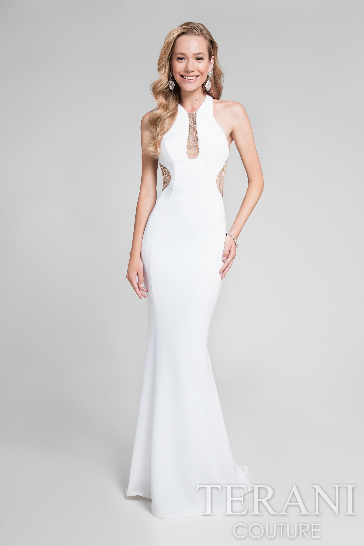 TERANI 1712P2486   TERANI WHITE EVENING DRESS