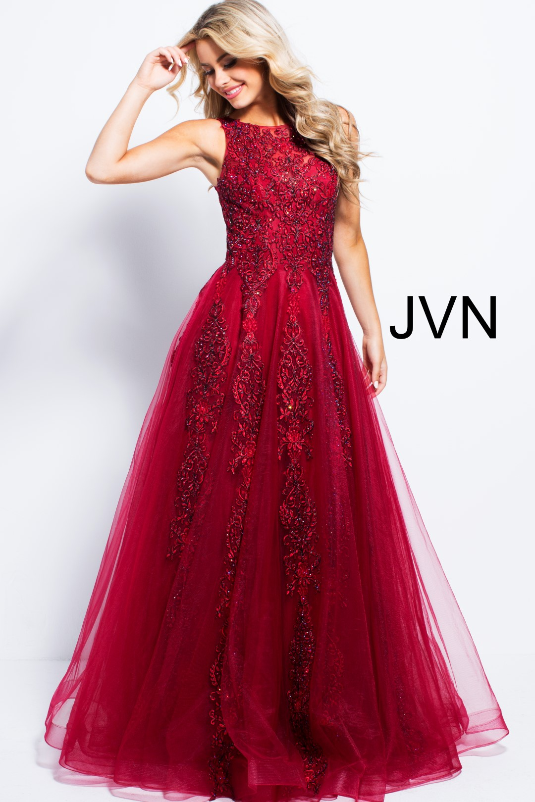 Jovani Jvn59046 Burgundy Ball Gown Wine Ball Gown