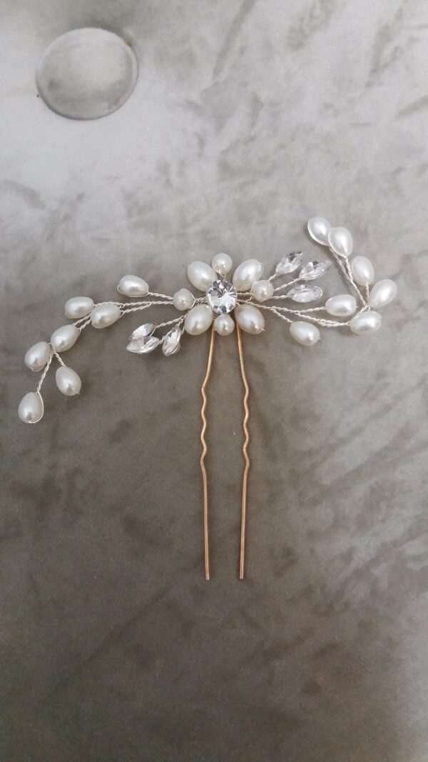 1004 Crystal and pearl hair pin