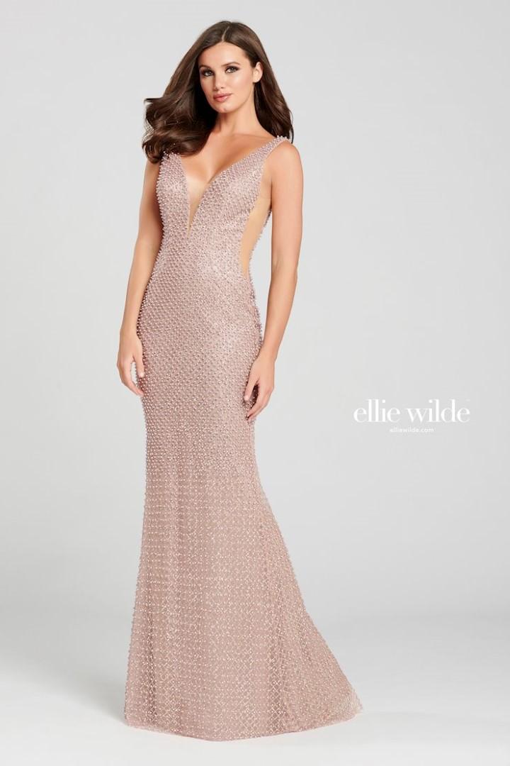 Ellie Wilde Ew120006 Rose Gold Dress Evening Dress