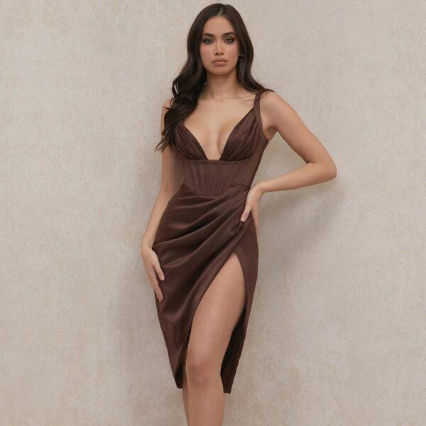 SAMANTHA SATIN CORSET DRESS BROWN
