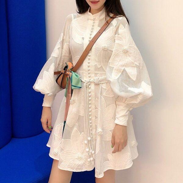 WHITE FLOWER APPLIQUE DRESS
