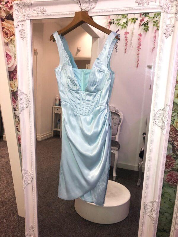 SAMANTHA SATIN CORSET DRESS BLUE