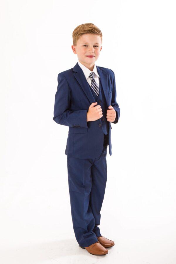 5 piece boys royal blue suit