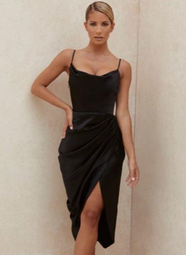 carrie satin corset dress black