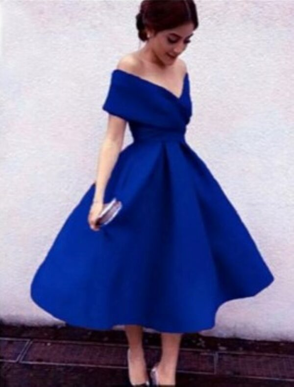 PEARL OFF THE SHOULDER DRESS ROYAL BLUE