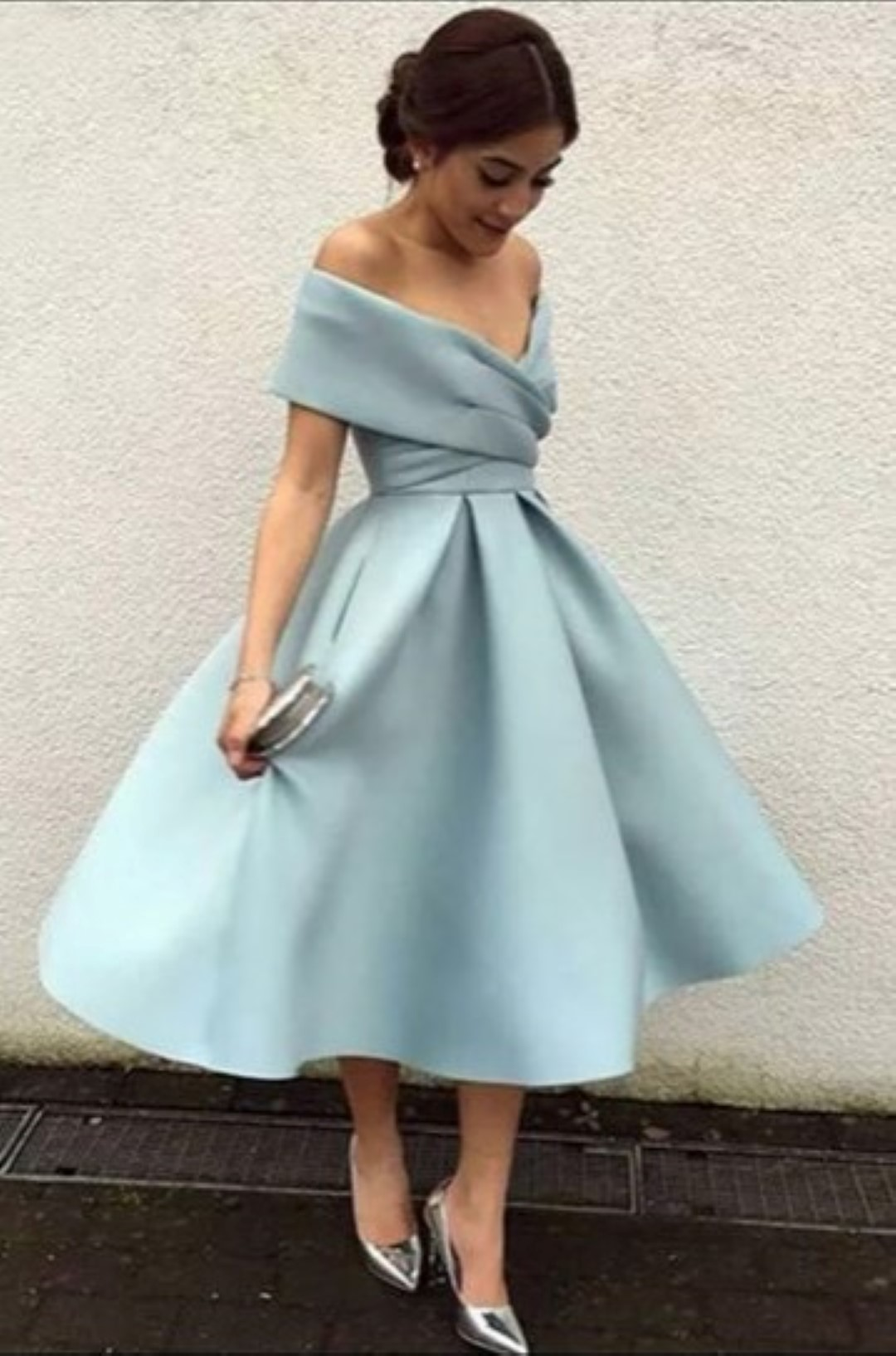 PEARL OFF THE SHOULDER DRESS PALE BLUE